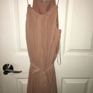 Tan tie waist dress